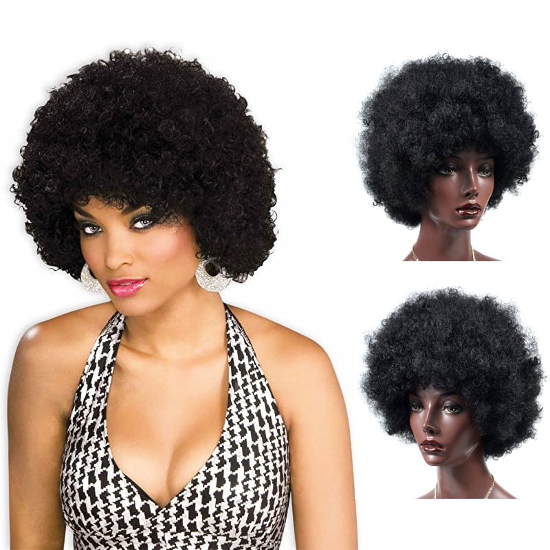 Synthetic Short Afro Wig Women Fluffy Hair Wigs For Black Women Kinky Curly Hair For Party Dance Cosplay Wigs With Bangs