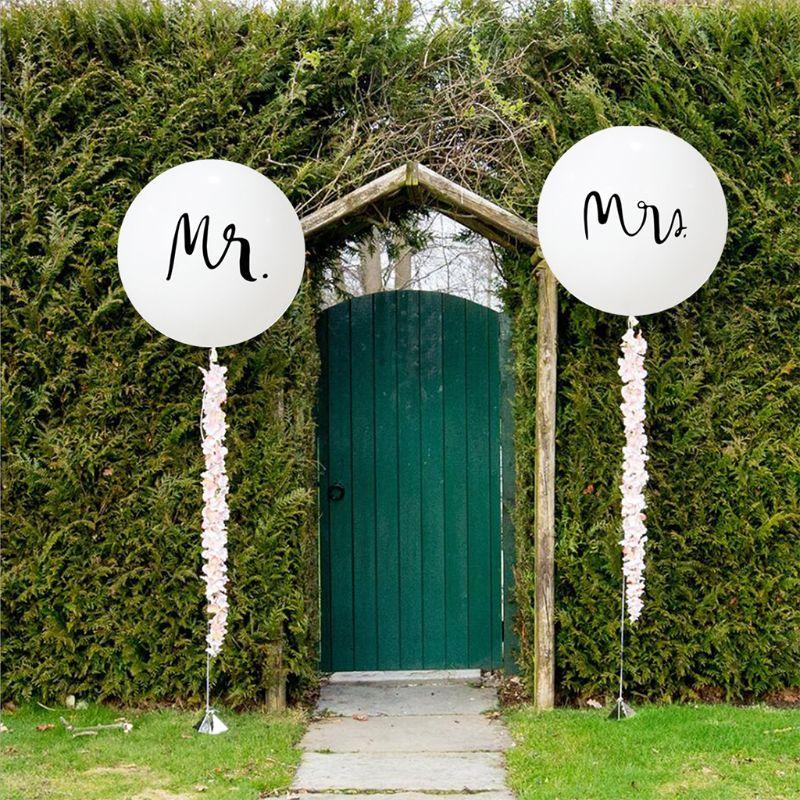 2 uds 2 uds. Globos Mr and Mrs de 36 pulgadas globos grandes de boda globos blancos ideales para decoración nupcial de la ducha boda y fiesta