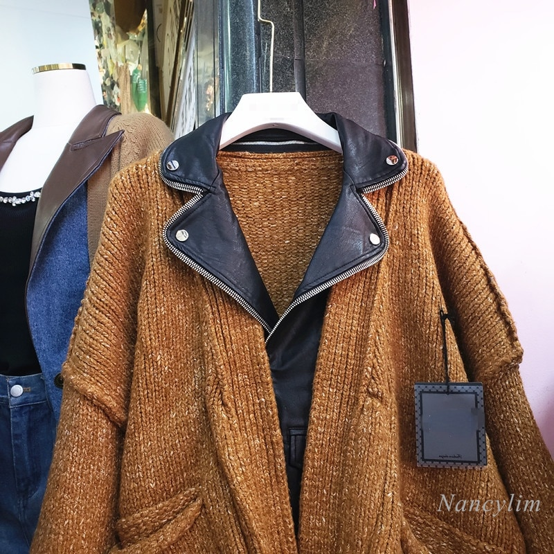 Leather Patch Cardigan Woman 2021 Autumn and Winter New Fashion Loose PU Stitching Fake Two-Pieces Loose Knitted Coats Lady Out enlarge
