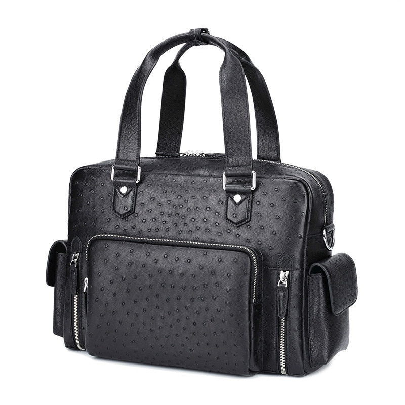 Men's Ostrich Skin Messenger Computer Office Bags For Men Fashion Casual Handbag Leather Briefcases Laptop Urban Travel Luxury