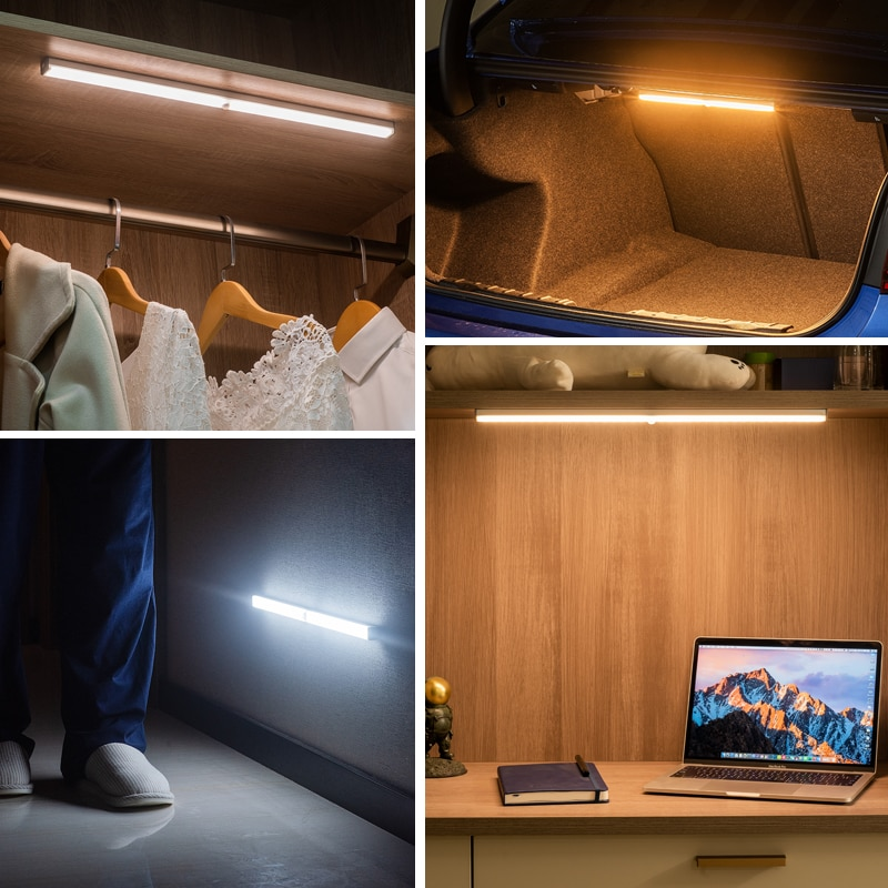 Plutus-Quinn LED Night Light Motion Sensor Wireless USB Rechargeable 20 30 40 50cm Night lamp For Kitchen Cabinet Wardrobe Lamp enlarge
