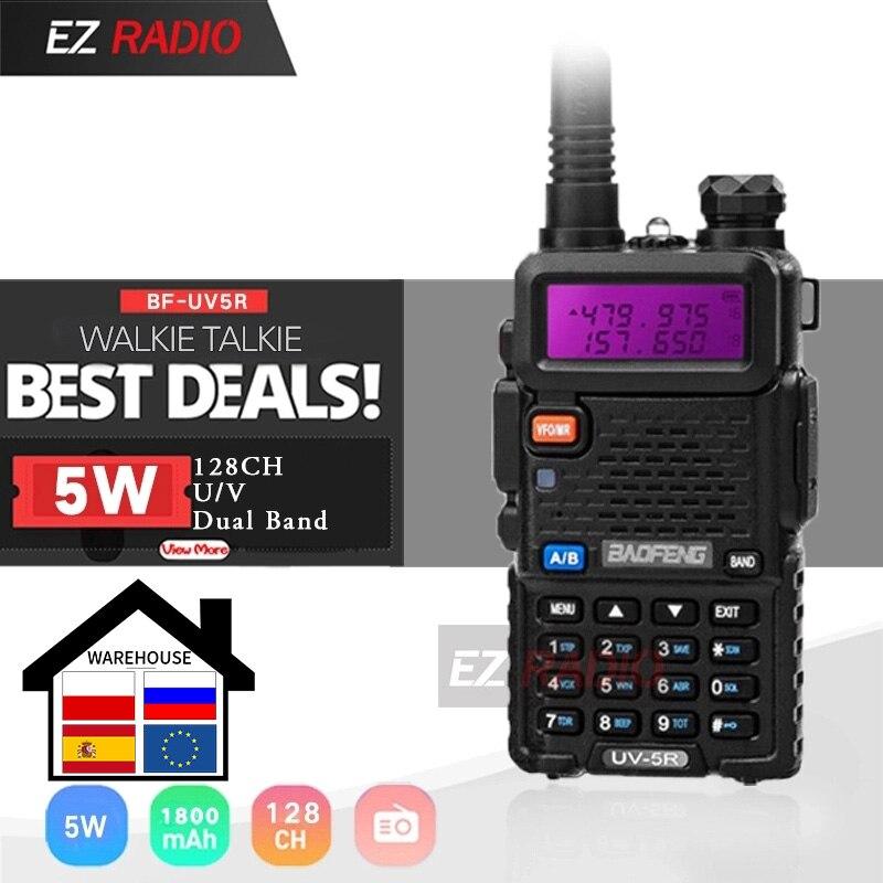 Baofeng-Walkie Talkie UV-5R, Original, doble pantalla, portátil UV5R de doble banda, 5W, UHF VHF, Radio bidireccional, Pofung UV 5R