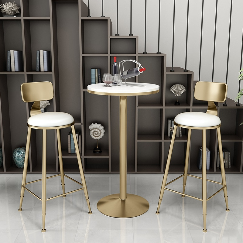 blue bar chairs furniture shop ktv music art museum teaching stools free shipping furniture retail wholesale household chair Nordic minimalist bar chair table set bar chairs  dessert shop cafe bar lounge round table high stools