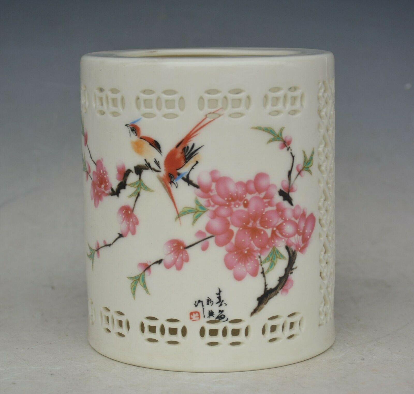 Porcelana china flores y pájaros lápiz florero olla