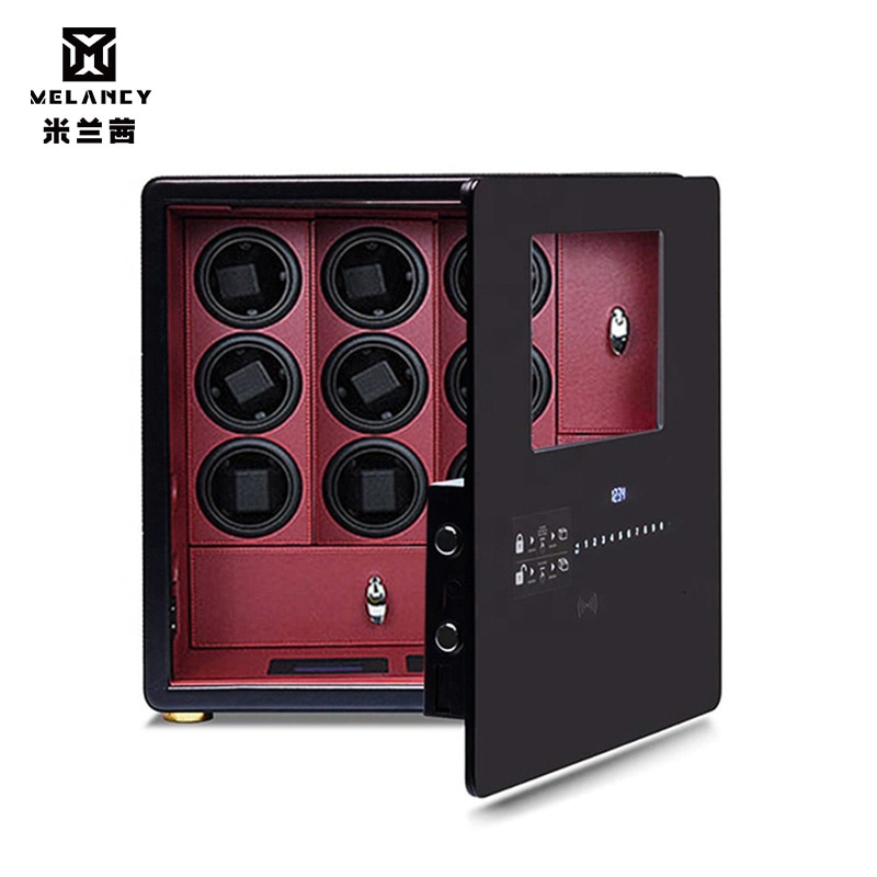 MELANCY Brand Theftproof Automatic Watch Winder Safe Box with 9 Slot Watches Box Drawer Collection with TPD 5 Mode Control