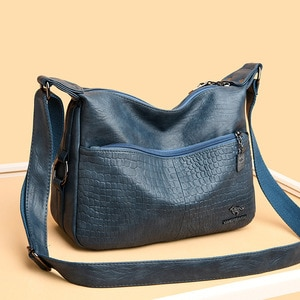 New Soft Leather Hobos Bags Women Shoulder CrossBody Bags Lady Fashion Alligator Women Messenger Bag Women's Leather Handbags