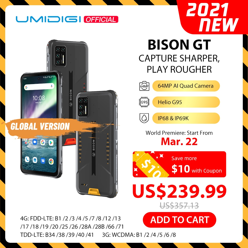 Перейти на Алиэкспресс и купить Смартфон UMIDIGI BISON GT защищенный, IP68/IP69K, 4 камеры 64 мп, 8 + 128 ГБ, 6,67 дюйма, FHD +, 33 Вт