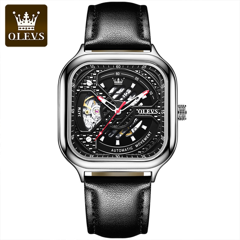 OLEVS New Luxury 30M Waterproof Square Dial Automatic Mechanical Tourbillon Perspective Hollow Luminous Hands Watches 6634 enlarge