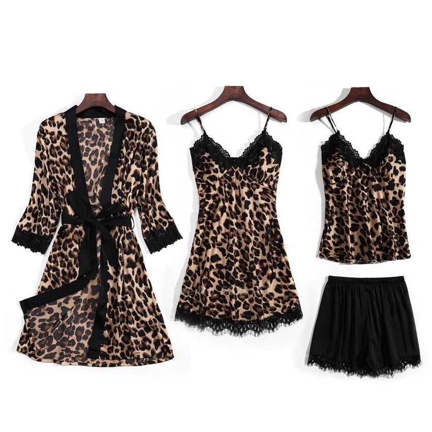 Leopard Pajamas Set Women Bath Robe Sexy Lingerie Home Wear Sleepwear Suit 4PCs Pyjamas Silk Breathable Lace Strap Tops