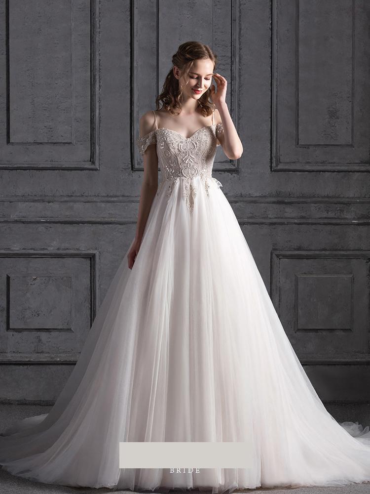 Vestido De novia De tul blanco Spaghetti Strapless Sweetheart vestidos De boda para novia una línea bordado con cuentas bata De Mariee Boheme