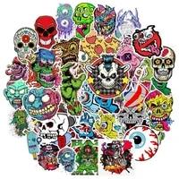 50pcs mixed horror skull zombie cartoon stickers for skateboard motorcycle fridge guitar laptop suitcase waterproof fun stickers