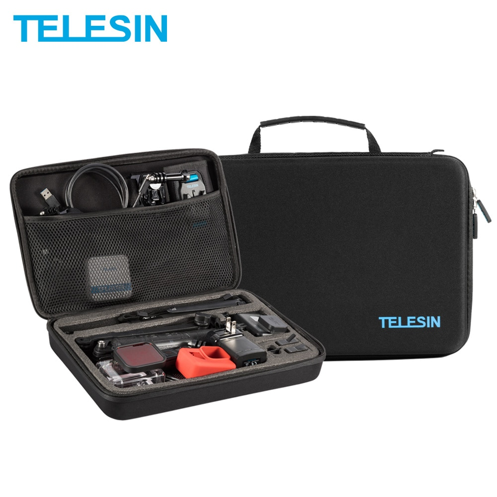 TELESIN-حقيبة تخزين محمولة سوداء كبيرة ، واقي لـ GoPro Hero 9 8 7 Hero 6 5 4 لـ Xiaomi YI EKEN DJI Osmo Action