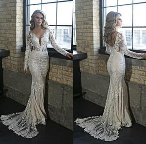 Elegant Mermaid Wedding Dresses V Neck Lace Applique Long Sleeve Wedding Dress Bridal Gowns Custom Made Robes De Mariée