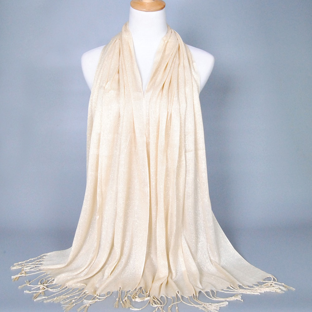 Chal bufanda de algodón de 170x60cm con flecos y brillos para mujer, chal LARGO DE estola Hijab de Color liso, bufandas para mujer elegante