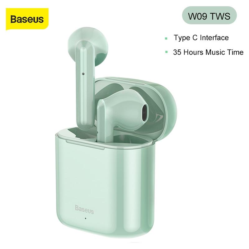 Baseus W09 TWS беспроводные наушники блютуз 5,0 Мини наушники с зарядной коробкой стерео настоящие спортивные безпроводные наушники bluetooth для самс...