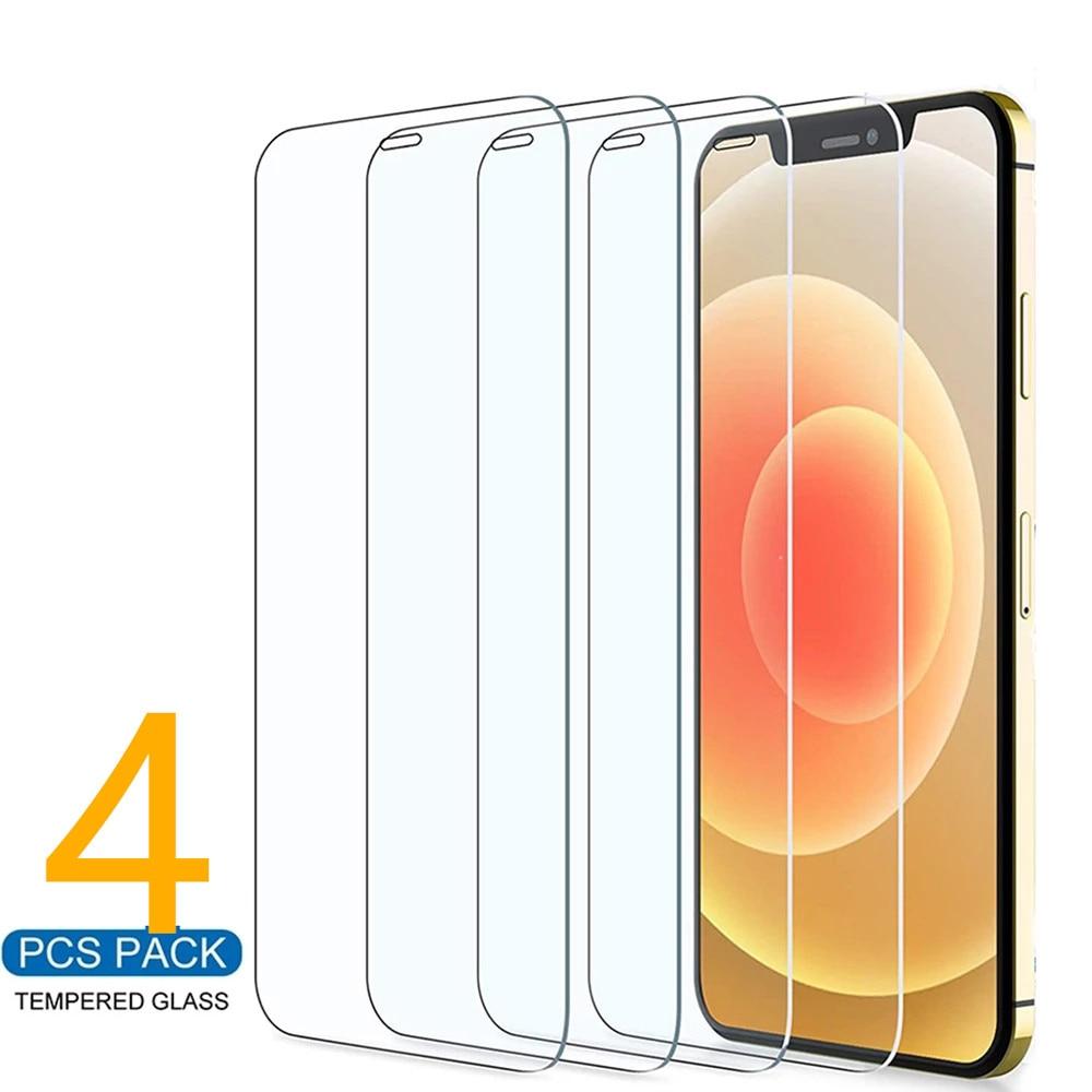 4Pcs מגן זכוכית על iPhone 11 12 פרו מקס XS XR 7 8 6s בתוספת SE מסך מגן עבור iPhone 12 מיני 11 פרו מקס מזג זכוכית