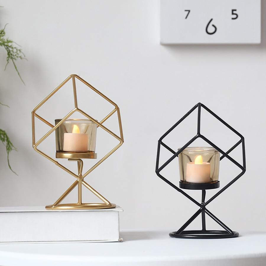 Candelabro de hierro forjado Vintage geométrico, soporte creativo para velas de boda,...