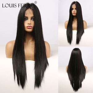 LOUIS FERRE Lace Front Synthetic Hair Wigs Heat Resistant Long Brazilian Straight Wig Red and Black Highlight Wigs for Women