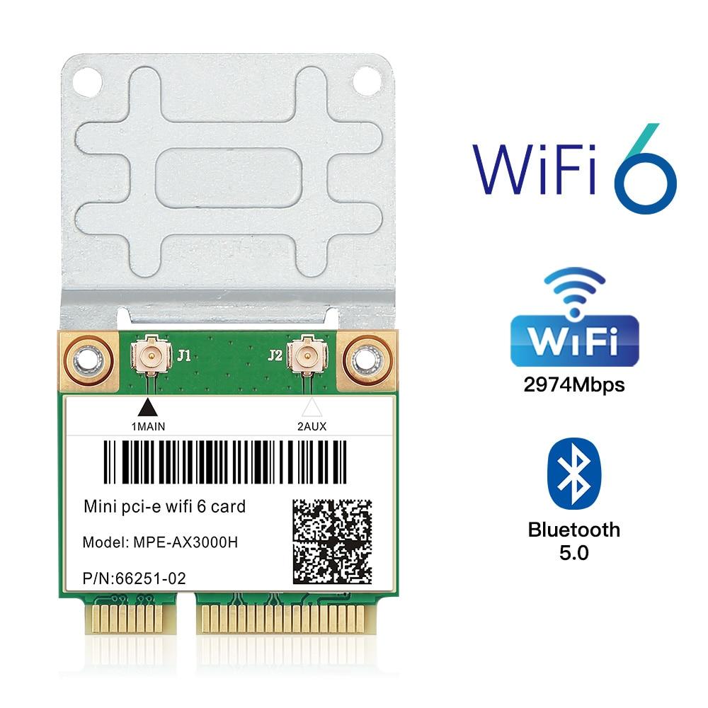 6 sem Fio Wifi Metade Mini Pci-e Rede Wlan Cartão Bluetooth 5.0 802.11ax – ac 2.4g 5ghz Adaptador Mu-mimo Antena Ipex 2974mbps