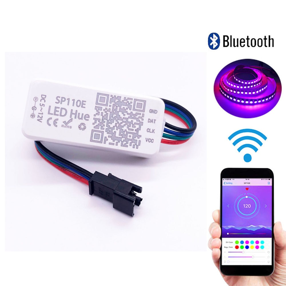 SP110E Bluetooth Led Pixel Strip Controller WS2811 WS2812B Dimmer SK6812 RGB RGBW APA102 WS2801 pixels Led Strip IOS Android