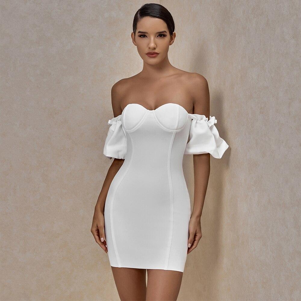 ضمادة فستان المرأة الصيف 2021 فستان حفلة بيضاء السيدات الأحمر قبالة الكتف مثير Bodycon فستان سهرة نادي عيد ميلاد وتتسابق