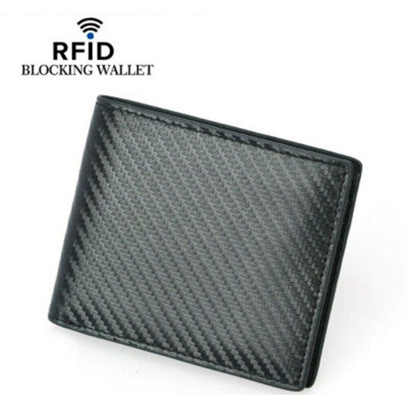 Billetera de cuero para hombre, protección de identificación de bloqueo de tarjeta sin contacto de seguridad RFID, de diseñador