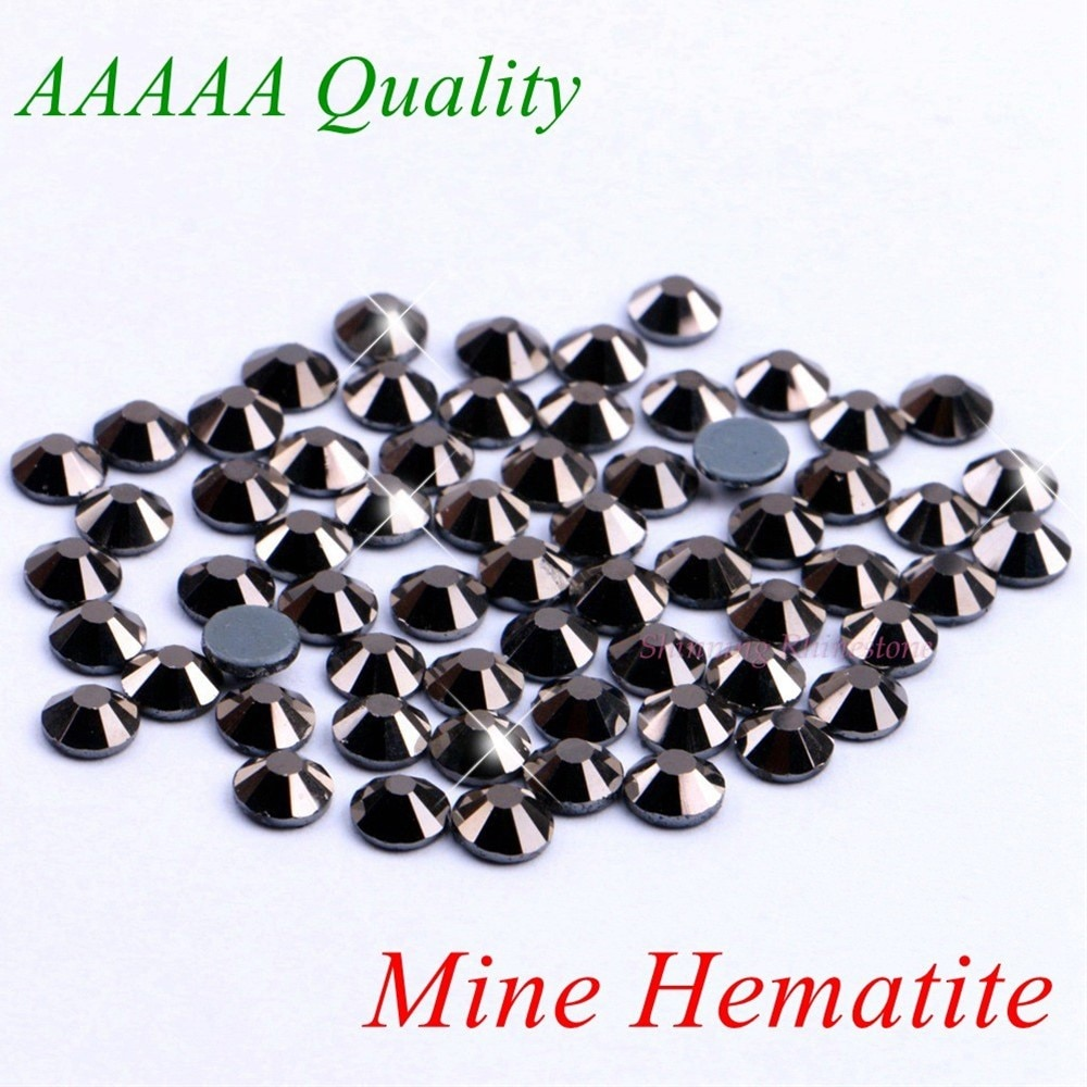 Diamantes de imitación de lujo AAAAA, hematita SS6 SS10 SS16 SS20 SS30