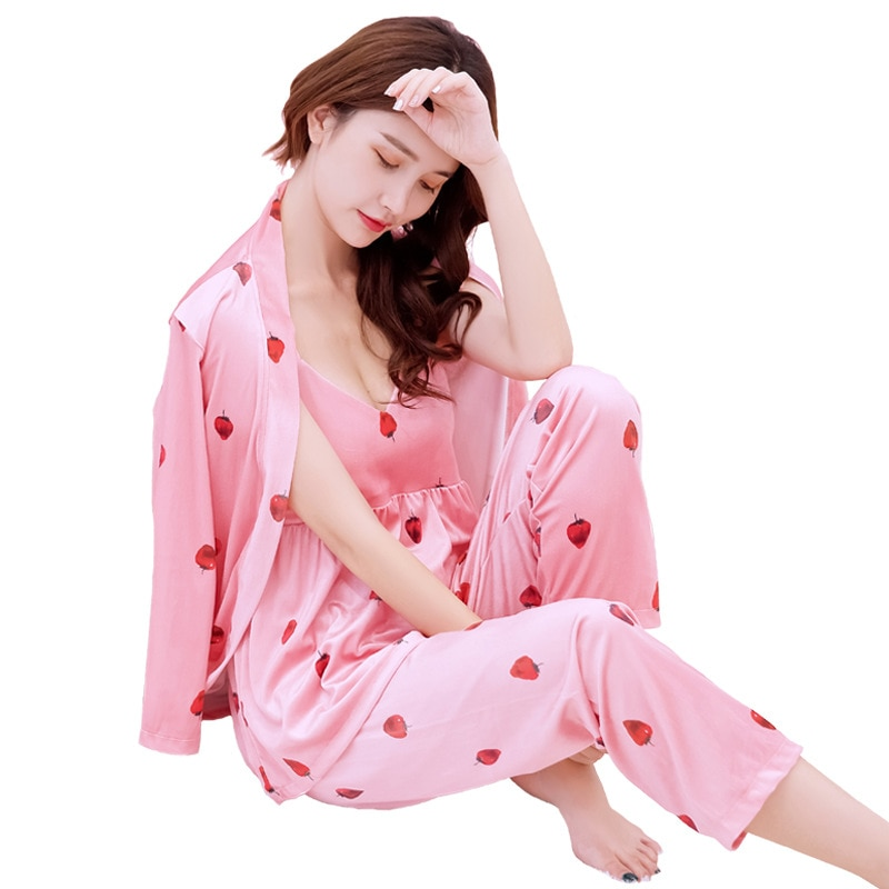 بيجاما مخملية ذهبية ، طقم من ثلاث قطع ، ثوب نوم مثير ، فراولة ، ملابس منزلية كورية ، لفصلي الربيع والخريف والشتاء