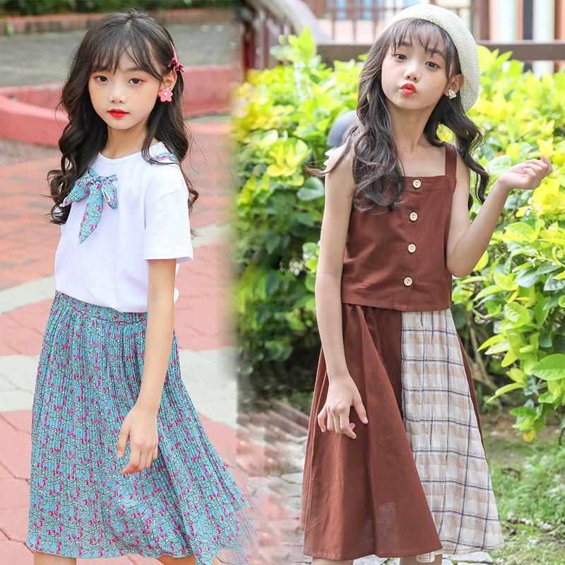 Teen Girls Clothing Set Kids Clothes Shorts T shirt Shirt Suit Children Costume 2020 Summer School Girls Outfits 6 8 10 12 Years