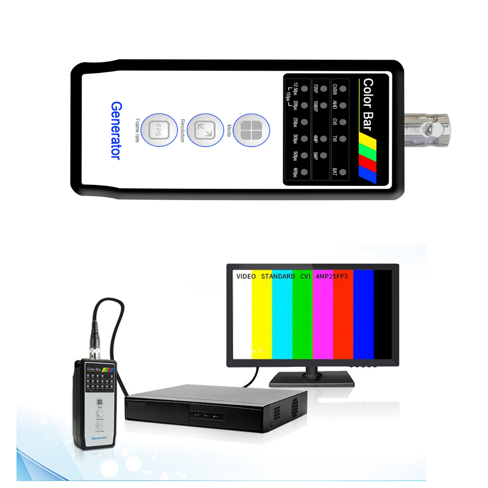 Color Bar Generator CCTV teser 4MP CVI/5MP TVI/ 5MP AHD+CVBS for Security & Protection,Security monitoring troubleshooting tool