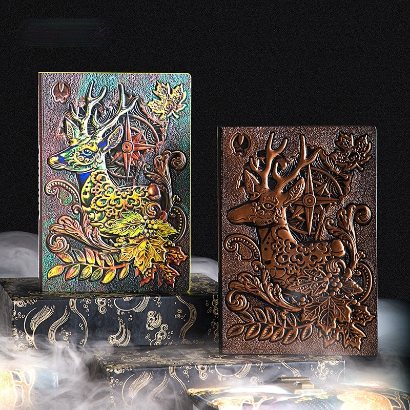 NEW European Style Retro 3D Three-dimensional Relief Book Personality A5 Notebook Exquisite Leather Student Hand Book Diary