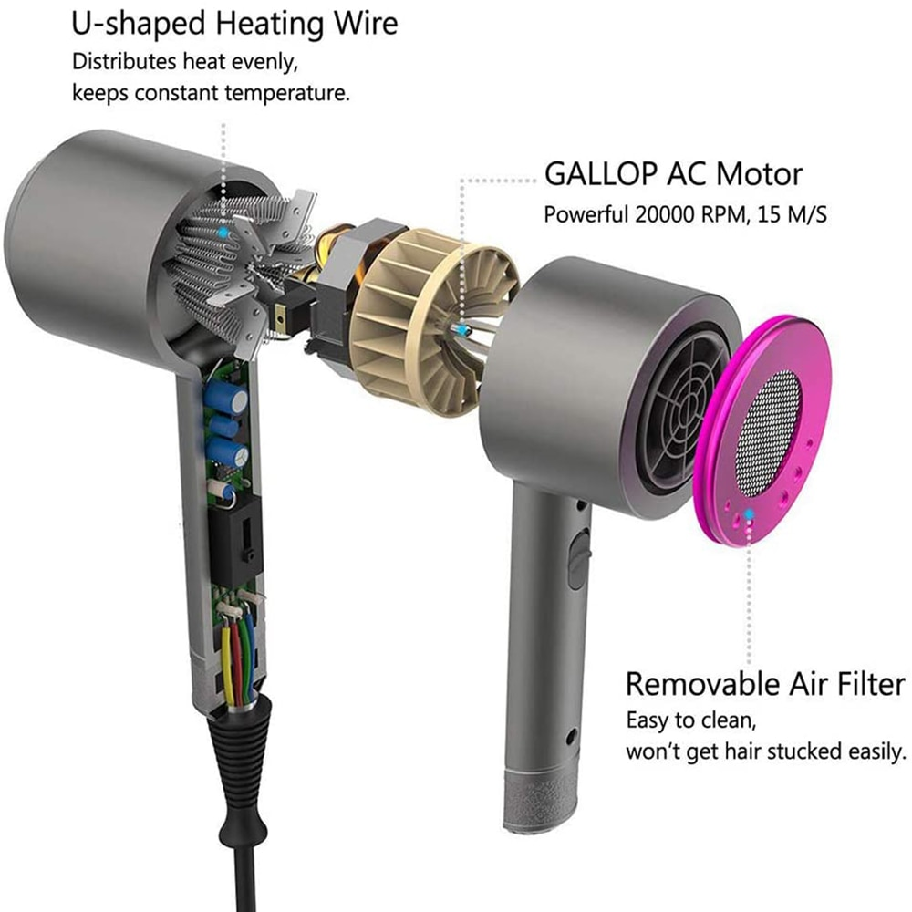 Hair Dryer Salon Home Use Dryer Hot &Cold Wind Negative Ionic Hammer Blower Dry enlarge