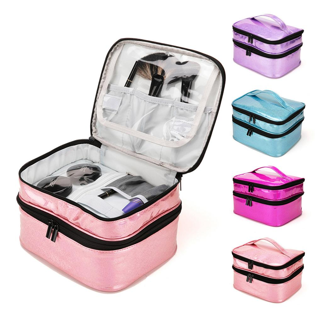 Nail Gel Cosmetics Storage Bag Portable with Double-Layer 30 grids Storage Box Organizer Portable Cosmetic Essential Oils Bag