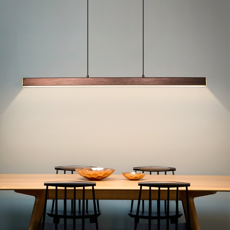 Modern LED dining room chandelier lighting Nordic restaurant long hanging lights office fixtures Bar illumination study lamps