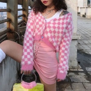 Women's Check Cardigan Pink & White Mohair Long Sleeve Heart-Shape Button Up Cropped Knit Sweaters e-Girl Outfit