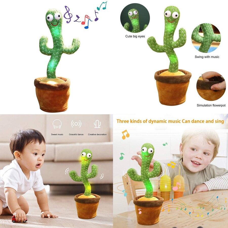 Детская плюшевая кукла-кактус, пение, танцы, вокал, светящийся кактус, плюшевая кукла, игрушка, говорящая игрушка для детей
