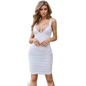Fashion Women Sexy Stretch Blue Solid Color Sleeveless Bandage Dress Summer sweet new dress Women