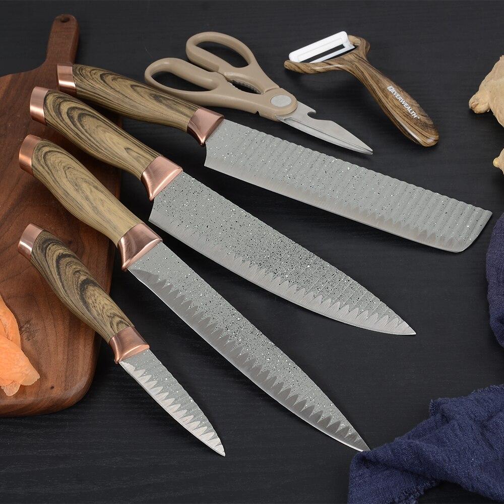 Sowoll 7 قطعة الفولاذ المقاوم للصدأ السكاكين مجموعة مقص الفاكهة الخضروات مقشرة سكاكين المطبخ هدية مربع تقطيع التقشير سكين أحمر أسود