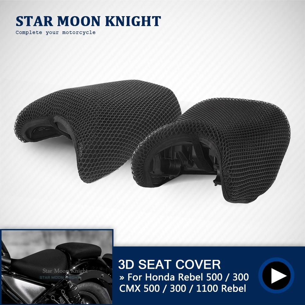 For Honda Rebel CMX 1100 500 300 2017-2021 Rear Seat Cowl Cover 3D Mesh Net Waterproof Sunproof Protector Motorcycle Accessories