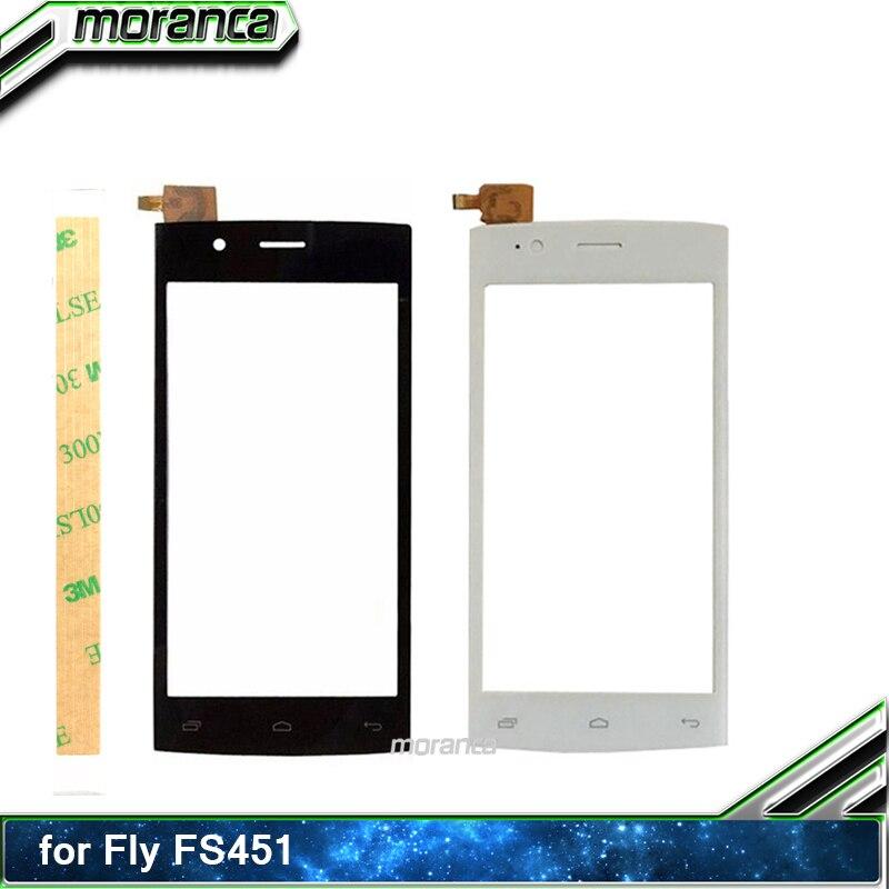 Teléfono móvil táctil de 4,5 pulgadas para Fly FS451 FS 451 Sensor de Digitalizador de pantalla táctil Panel táctil Lente de Cristal frontal + adhesivo 3M
