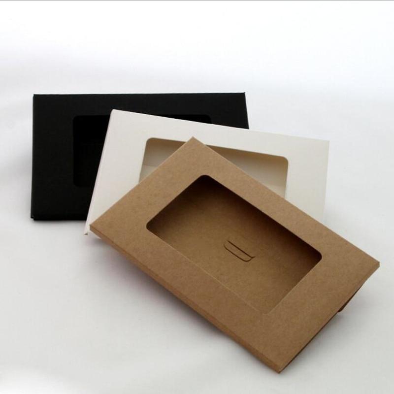 50PCS/lot Vintage Hollow Design Black / White Brown Kraft Paper Envelope Postcard Boxes Greeting Photo Post Card Package Bag