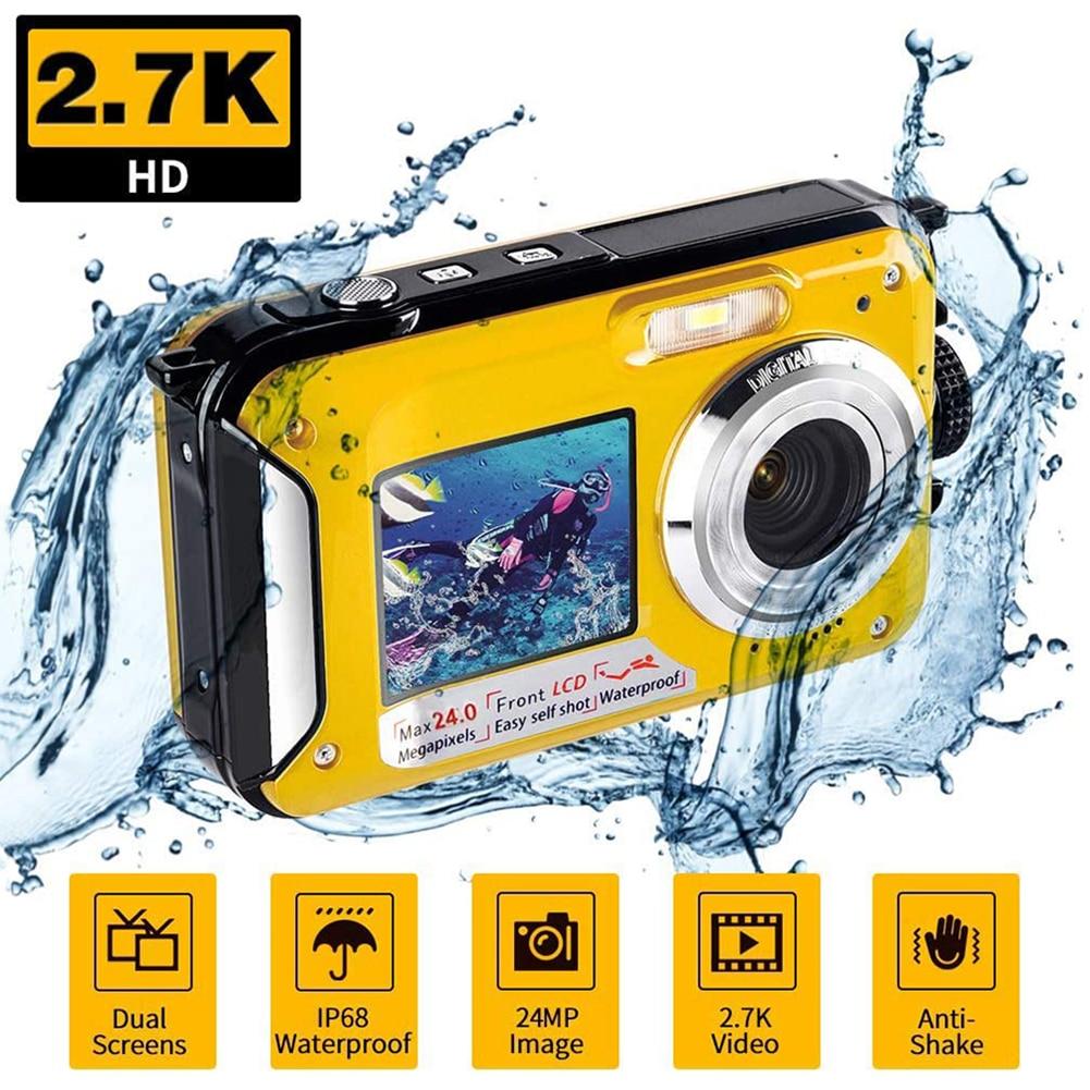 Cámara Digital impermeable 1080P HD 2.4MP pantalla Dual submarina DV grabadora 24 millones de píxeles soporte 32GB tarjeta TF de cámara