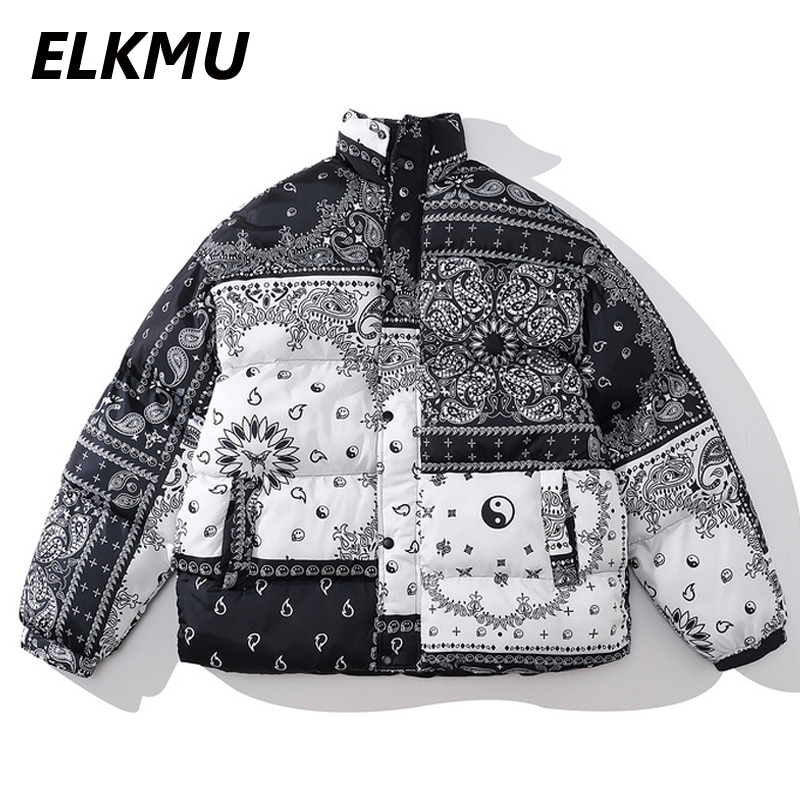 Бандана ELKMU HM645 Мужская, стеганая куртка с принтом пейсли, теплая зимняя парка, уличная мода, Харадзюку