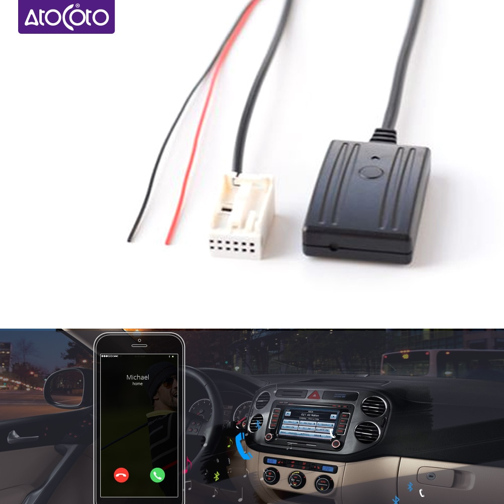 Kit de telefone do carro bluetooth chamada handsfree 12 pinos adaptador aux para vw rcd210 rcd310 rcd510 cd rádio sem fio receptor entrada áudio