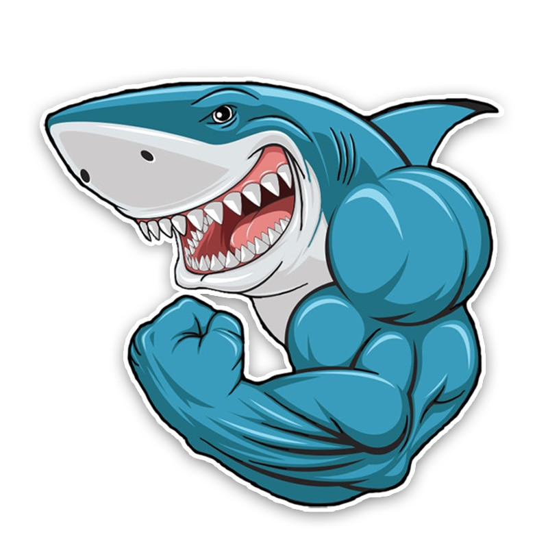 Strong Shark Car Sticker Accessories Car Styling Decal Vinyl Car Window Cover Scratches Waterproof P