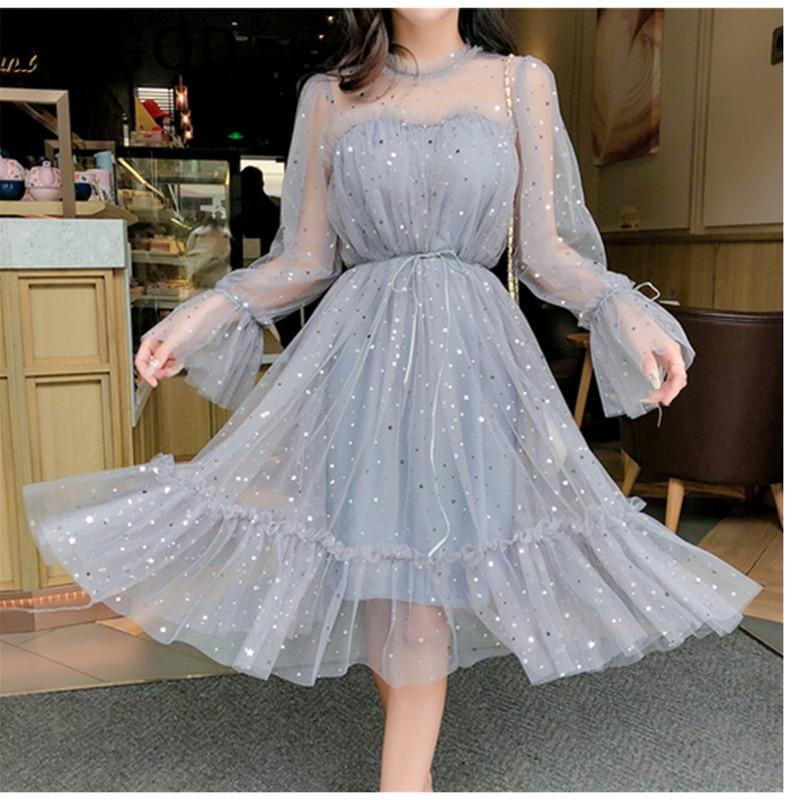 Vestido de verano para mujer, nuevo, brillante, transparente, suelto, con retazos de malla, elegante, liso, estilo coreano, kimono
