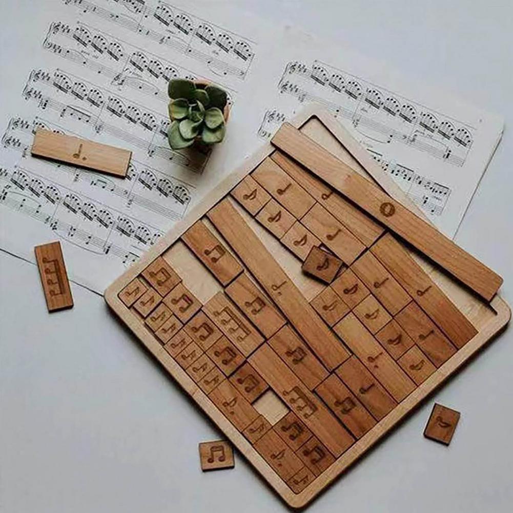 Деревянные музыкальные ноты головоломка милые музыкальные ноты ремесла музыкальные Обучающие игрушки Детская развивающая игрушка резьба ...