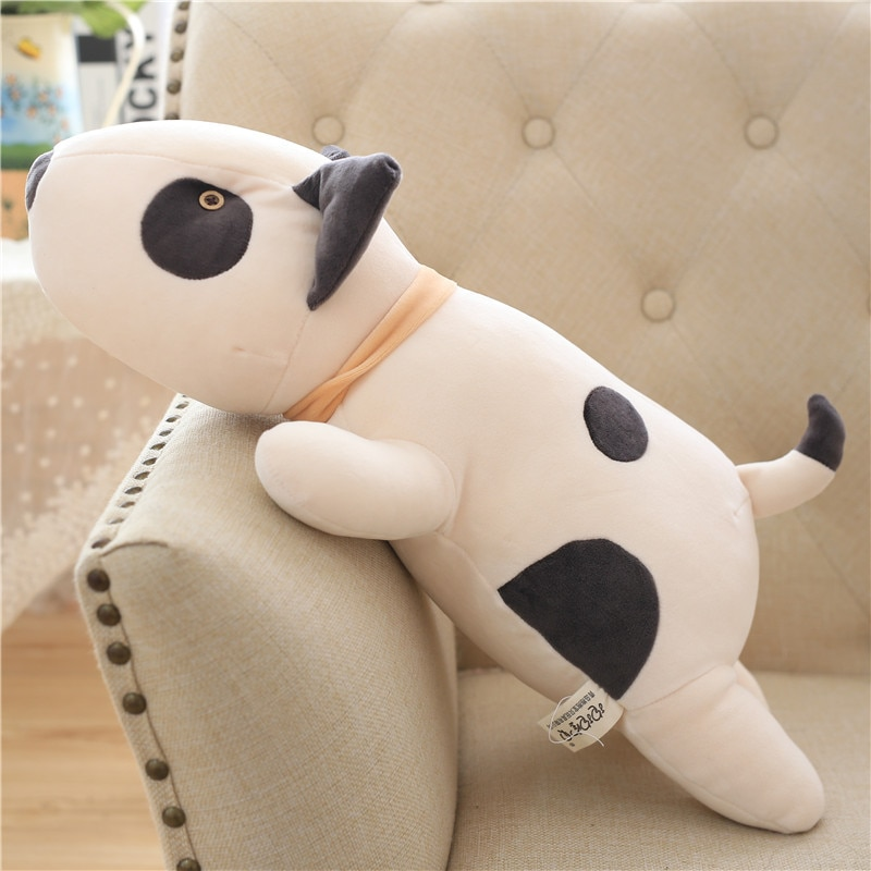 Bull Terrier Dog Plush Toy Kawaii Soft Stuffed Cushion Lovely Shape Pillow For Children Birthday Gift 55cm