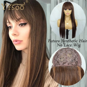 YYsoo Long Silky Straight Japan Futura Synthetic No Lace Wig With Bangs #4 Highlights #30 Color Full Machine Made Wigs For Women