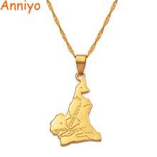 Anniyo cameroun carte pendentif collier chaîne W/45 cm ou 60cm couleur or bijoux femmes hommes, afrique bijoux cameroun colliers #007510